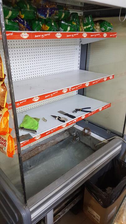 Замена поддона холодильного регала РОСС